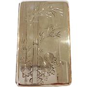 "Sterling Bamboo Cigarette 6.5"" Box Japanese 950 Silver"