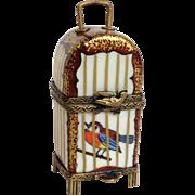 Limoges Bird Cage Trinket Box Artist Signed GR