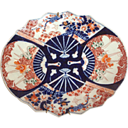 "Imari Japanese Fan Platter 13"" Early 1900's"