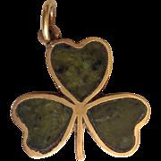 Shamrock Charm Connemara Marble 9 Karat Gold