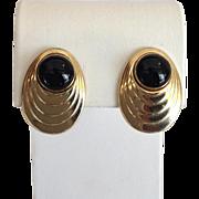Onyx Oval Earrings 14 Karat Yellow Gold