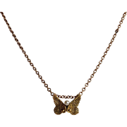 Wings and Pearl Necklace 14 Karat