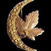 Alaska Gold Leaf And Moon Pin 14 and 22 Karat Nugget