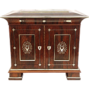 Regency Rosewood Silver Writing Cabinet Mother of Pearl Box 19th c.