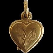 Heart Locket Charm 14 Karat Vintage