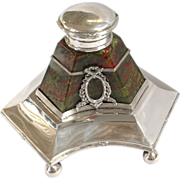 Lithyalin Glass Bohemian Czech Inkwell Sterling 19th C.