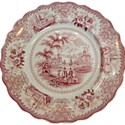 Staffordshire Commerce Free Trade 11 inch Red Plate