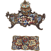Champleve Enamel Inkwell and Pen Tray