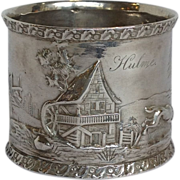 Coin Silver Napkin Ring Country Scene