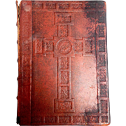"Bible Red Leather Chamberlain Family with Cross 13"" Vintage"