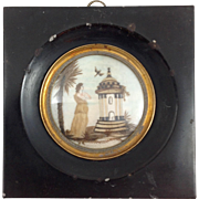 Mourning Hair Plaque Figure of Museum Quality C. 1790
