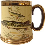 Vintage Copper Luster Mug with Fish Decoration Made in England by Gibson c. 1950