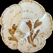Haviland Majolica Oyster Plate Gold Seaweed