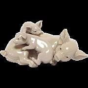 Vintage Lladro Playful Piglets Porcelain Figurine