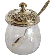 Kirk Repousee Jar Sterling and Glass With Spoon