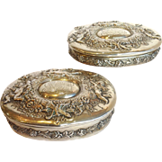 Pair Tiffany Ornate Cherub Sterling Jewelry Boxes  19th c.