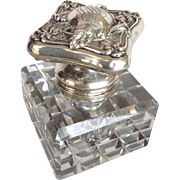 Morning Glory Sterling Inkwell Cut Glass 19th Century