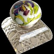 Enameled Iris Cut Glass Inkwell 900 Silver