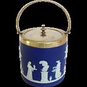 Wedgwood Biscuit Barrel Blue Jasperware