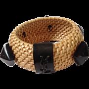 Yves Saint Laurent Straw Bracelet Signed YSL