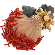 SOLD Natural Shell Coral and Stone Brooch by Lawrence Vrba
