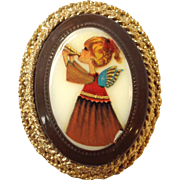 Hobe Porcelain Angel Christmas Pin or Pendant
