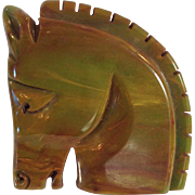 Bakelite Carved Horse Head Pin