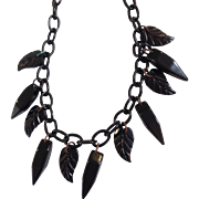 Black Bakelite And Celluloid Necklace