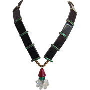Lacquered Wood And Glass Necklace C. 1930's