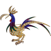 Large Enameled Rooster Pin