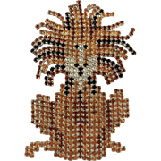 Dorothy Bauer Large Lion Brooch with Hand-Set Stones