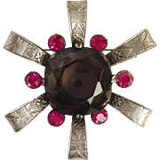 Silver-Tone, Prong Set Smokey Amethyst and Hot Pink Prong-Set Rhinestone Brooch by Capri