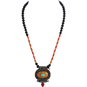 Ethnic Necklace With Coral Onyx Turquoise Colored Beads