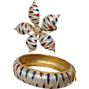 Brooch and Bracelet Duo Enamel by Park Lane