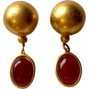 Drop Ball Earrings Oval Carnelian Glass