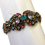 Hollycraft Pastel Color Rhinestone Bracelet Signed and Dated 1950