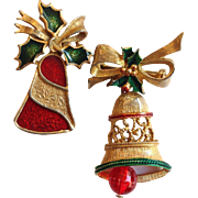 Two Christmas Bell Pins Vintage Signed Gerry's