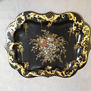 Scalloped-Edge Tole Tray with Mother-of-Pearl Inlay