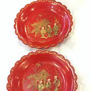 Pair Red Papier Mache' Chinoiserie Plates