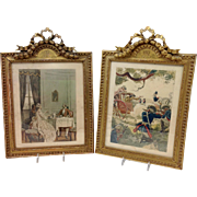 Pair of French Gilt Wood Carved Frames with Casanova Memoir Prints
