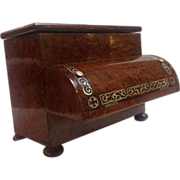 Piano Shaped Writing Box Mother of Pearl and Burr Yew