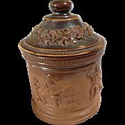 Salt Glaze Stoneware Tobacco Jar - Drinking and Smoking Scenes