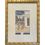 Antique Indian Courtyard Painting