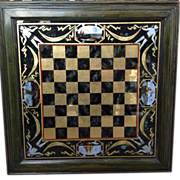 Reverse Painted Glass Framed Checker or Chess Board