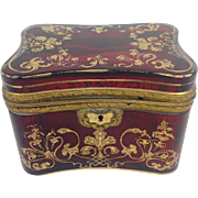 Bohemian Red Glass Casket Mid 19th C.