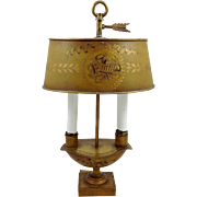Tole Peinte 2 Light Lamp Early 20th C.