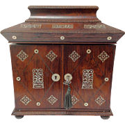 Rosewood Mother of Pearl Inlaid Table Cabinet