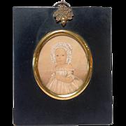 Antique Miniature Portrait of a Baby