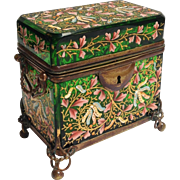 Moser Emerald Green Glass Casket with Enameled Floral Decoration