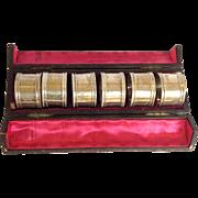 Set of 6 Sterling Napkin Rings in Presentation Box C. 1885